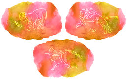 Zodiac Signs triplicity elements of fire on watercolor background Royalty Free Stock Photo