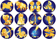 Zodiac signs. Twelve signs of the Zodiac with stars on a blue background Stock Photo
