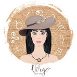 Zodiac signs Virgo   in image of beauty girl. Stock Photo