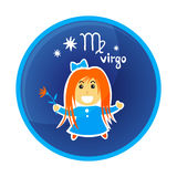 Zodiac signs-13. Zodiac signs Virgo isolated on white background. Cartoon funny character. Design element for greeting cards or flyers vector illustration