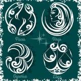 Zodiac signs - Virgo, Libra, Aquarius, Pisces Royalty Free Stock Image