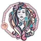 Zodiac signs Virgo. Vector illustration of the girl Stock Photos