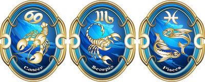 Zodiac signs of water. Three zodiac signs of water in the ancient pendants drawn in vintage style Stock Images