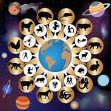Zodiac signs by western and eastern calendar stock illustration