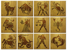 Zodiac Signs on wood Stock Images