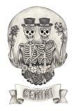Zodiac Skull Gemini.Hand drawing on paper. Stock Photo