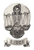 Zodiac Skull Libra.Hand drawing on paper. Stock Photography