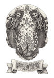 Zodiac Skull Pisces.Hand drawing on paper. Royalty Free Stock Image
