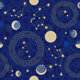 Zodiac sky. Abstract seamless vector pattern with constellations. 1950s-1960s motifs. Retro textile collection. Golden on dark Stock Illustration