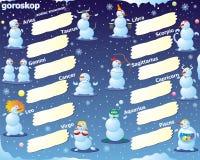 Zodiac snowman Stock Image