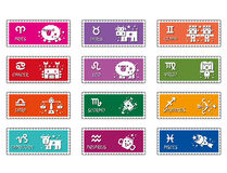 Zodiac stamps design. Twelve zodiac Character Stock Photography