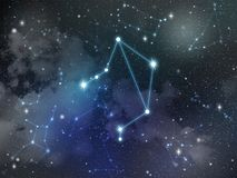 Libra constellation star Zodiac. Zodiac star,Libra constellation, on night sky with cloud and stars Stock Images
