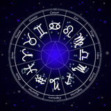 Zodiac Star Signs in Circle on Dark Background Stock Images