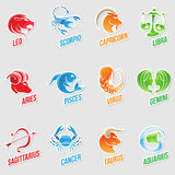 Zodiac Star Signs Sticker Designs. Vector Illustration of Zodiac Star Signs with Sticker like Designs Royalty Free Stock Photos