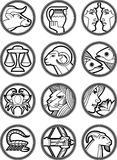 Zodiac Star Vector Signs 2. Illustrations of the twelve Horoscope Zodiac Star signs Royalty Free Stock Images