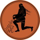 Zodiac in the style of Ancient Greece. Aquarius. Man with a beard, long hair and laurel wreath, resting on one knee, pouring water from an amphora. Black Stock Photo