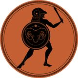 Zodiac in the style of Ancient Greece. Aries. Greek hero with a beard wearing a ram coat, sword in hand and ram head shield. Black figure inscribed in a circle Stock Images