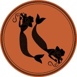 Zodiac in the style of Ancient Greece. Pisces. Two girls with fish tails, carrying Greek amphoras on their shoulders. Sirens. Black figures inscribed in a Stock Photography