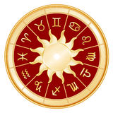 Zodiac Sun Signs, Red Background Royalty Free Stock Photography