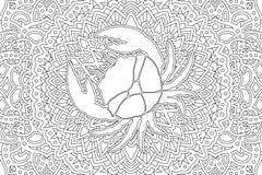 Zodiac symbol cancer on beautiful linear pattern stock photography