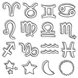 Zodiac symbol doodle set vector Royalty Free Stock Photo
