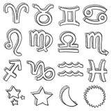Zodiac symbol doodle set vector Royalty Free Stock Photo