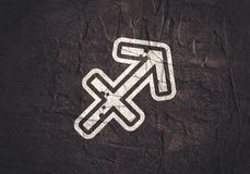 Zodiac symbol icon. Zodiac symbol textured by connected lines with dots pattern. Sign of the Archer stock image