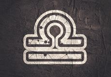 Zodiac symbol icon. Zodiac symbol textured by connected lines with dots pattern. Sign of the Scales Royalty Free Stock Photography