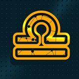 Zodiac symbol icon. Zodiac symbol textured by connected lines with dots pattern. Sign of the Scales. 3D rendering Royalty Free Stock Photos