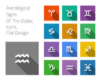 Zodiac Symbol icons on color background. Royalty Free Stock Images