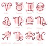 Zodiac Symbol icons. Horoscope for women. Vector illustration Stock Photos