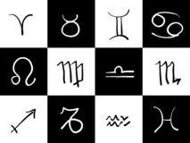 Zodiac Symbols. Black and white hand drawn zodiac symbols Royalty Free Stock Images
