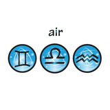 Zodiac symbols air element Royalty Free Stock Photography