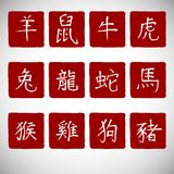 Zodiac symbols calligraphy on red background Royalty Free Stock Photography