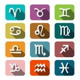 Zodiac Symbols. Colorful Rectangles Icons. Royalty Free Stock Photo