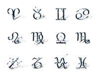 Zodiac symbols decorated zodiac constellations. Isolated on white background Royalty Free Stock Photography