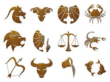 Zodiac Symbols, signs, shapes on white background Royalty Free Stock Photography