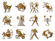 Zodiac Symbols, signs, shapes on white background Stock Photography