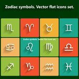 Zodiac symbols. Vector flat icons set Stock Image
