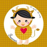 Zodiac- taurus. Zodiac- illustration of a girl- taurus royalty free illustration