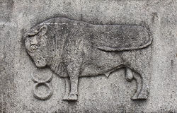 Zodiac - Taurus or Bull. A stone relief Stock Photography
