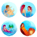 Zodiac: Taurus, Gemini, Cancer, Leo. Set of watercolor illustrations with zodiac signs Royalty Free Stock Photo