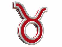 Zodiac taurus simbol. Red zodiac taurus simbol 3d on the withe background Royalty Free Stock Photo