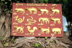 12 zodiac in Thailand. 12 zodiac board of Thailand in temple Royalty Free Stock Photos