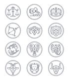 Zodiac vector astrology vector line icons. Aries and taurus, gemini and cancer, leo and virgo, libra and scorpio. Sagittarius and capricorn, aquarius and Royalty Free Stock Photos
