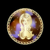 Zodiac Virgo σημάδι στο πλαίσιο κύκλων ελεύθερη απεικόνιση δικαιώματος