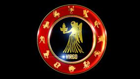 Zodiac virgo background. This stock motion graphic features , the symbol for the Zodiac sign in Indian astrology. The Zodiac sign is surrounded with a red disc royalty free illustration