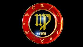 Zodiac virgo background. This stock motion graphic features , the symbol for the Zodiac sign in Indian astrology. The Zodiac sign is surrounded with a red disc stock illustration