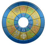 Zodiac water circle. Illustrated zodiac circle with the signs associate to the elementary colours, and borders which highlight the water signs Stock Photography