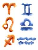 zodiac watercolor σημαδιών Στοκ Φωτογραφίες